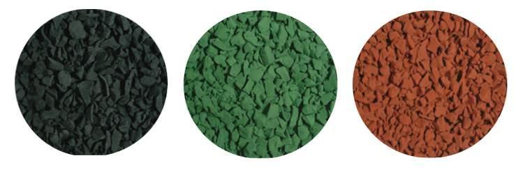 Das PUR-Gebundene, gefärbte Gummigranulat ist in rotbraun, grün und schwarz verfügbar.